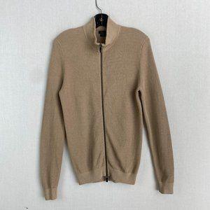 MASSIMO DUTTI Cream Extra Fine Cotton Zip Up Jacke